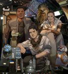1girl 3boys alien arm_hair armband bb-8 belt black_hair brown_eyes brown_hair brown_jacket brown_scarf brown_shirt buttons chair chewbacca closed_mouth cockpit collarbone collared_shirt commentary dark_skin dark_skinned_male droid english_commentary facial_hair fangs finn_(star_wars) grin hair_bun highres jacket lights lips long_sleeves looking_at_viewer looking_to_the_side machinery multiple_boys on_chair open_clothes open_jacket open_mouth poe_dameron rey_(star_wars) robot scarf science_fiction shirt short_hair short_sleeves sitting smile spacecraft_interior standing star_wars star_wars:_the_rise_of_skywalker teeth thisuserisalive white_shirt wookiee wristband
