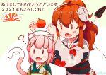 2girls :d ? ahoge animal_ear_fluff animal_ears bangs blush cat_ears cat_tail chiyoda_momo commentary_request curled_horns demon_girl demon_tail eyelashes fang floral_print hair_ornament high_ponytail horns japanese_clothes kagami_mochi kemonomimi_mode kimono long_sleeves machikado_mazoku multiple_girls nengajou new_year obi open_mouth pink_hair print_kimono redhead sash shironagasublue skin_fang smile tail wide_sleeves x_hair_ornament yoshida_yuuko_(machikado_mazoku) |_|