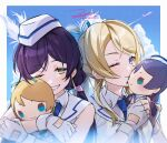 2girls ayase_eli bad_id bad_pixiv_id bangs blonde_hair blue_neckwear blue_sky character_doll collared_shirt earrings eyebrows_visible_through_hair eyelashes fingerless_gloves gloves hat jewelry kissing_doll looking_at_viewer love_live! love_live!_school_idol_project multiple_girls necktie nesoberi one_eye_closed purple_hair shirt signature sky smile swept_bangs toujou_nozomi uniform upper_body white_gloves white_shirt wing_collar wonderful_rush zawawa_(satoukibi1108)
