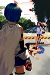 4girls absurdres adjusting_hair akemi_homura arm_at_side bandaid bare_shoulders black_hair black_legwear black_skirt blood blood_splatter bloody_clothes blue_eyes blue_hair blue_skirt brown_footwear bush cape capelet commentary_request corpse covered_face covering_another's_eyes creature day death detached_sleeves dual_persona empty_eyes expressionless facing_away facing_viewer flat_chest floating_hair frilled_skirt frills from_behind full_body giant gloves grey_capelet grey_skirt hairband heart heart_(organ) high_collar highres holding holding_heart holding_organ hole hole_in_chest hole_on_body jitome kaname_madoka kyubey legs_together loafers long_hair long_sleeves looking_at_another lying mahou_shoujo_madoka_magica miki_sayaka mitakihara_school_uniform multiple_girls neck_ribbon on_side outdoors pantyhose parted_lips pink_hair pleated_skirt purple_ribbon ribbon road road_sign sate_(ryu_ryu_1212m) school_uniform shadow shiny shiny_hair shoes short_hair side-by-side sign skirt soul_gem standing straight_hair street sunlight symbolism thigh-highs translation_request tree twintails uniform violet_eyes what white_cape white_gloves white_legwear zettai_ryouiki