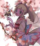 1girl :d anzu_(01010611) blonde_hair blush bow commentary_request eyelashes floral_print gen_7_pokemon green_eyes hair_ornament hands_up highres japanese_clothes kimono lillie_(pokemon) long_hair looking_to_the_side open_mouth pokemon pokemon_(creature) pokemon_(game) pokemon_masters_ex ponytail ribombee sketch smile tongue tree_branch wide_sleeves yellow_kimono