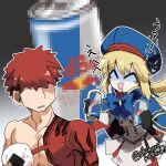 1boy 1girl ^q^ artoria_pendragon_(all) artoria_pendragon_(caster) blonde_hair censored emiya_shirou faceless fate/grand_order fate_(series) food gloom_(expression) hat highres igote limited/zero_over looking_at_another mosaic_censoring onigiri pantyhose red_bull redhead ribbon saliva sengo_muramasa_(fate) shikano_kashiko smile twitter_username upper_body
