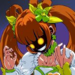 1girl bangs berserker_rage blunt_bangs choker claw_pose clenched_teeth clover_hair_ornament collarbone commentary_request cure_rosetta dokidoki!_precure evil_grin evil_smile glowing glowing_eyes gradient gradient_background green_choker grin hair_ornament hair_rings hands_up heart heart_hair_ornament long_sleeves magical_girl okka_(okka0918) orange_hair parody partial_commentary precure shaded_face simple_background smile solo teeth twintails upper_body yellow_eyes yotsuba_alice