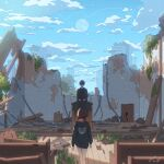 1boy 1girl arms_at_sides artist_name bench bibido black_coat black_hair brown_hair cable clouds coat collar day from_behind highres hood hoodie moon original pew plank red_collar ruins short_hair standing