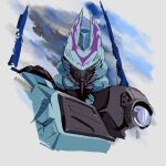 absurdres character_request english_commentary grey_background highres hinomars19 looking_at_viewer mecha no_humans predacon red_eyes science_fiction solo transformers upper_body v-fin