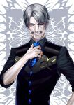 1boy black_shirt black_vest blue_neckwear facial_hair fate/grand_order fate_(series) grey_hair hand_up highres james_moriarty_(fate/grand_order) looking_at_viewer male_focus mustache necktie shirt simple_background solo standing suzuki_rui upper_body vest