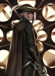 1girl absurdres ascot blood blood_on_face blood_stain bloodborne bloody_clothes blue_eyes bonnet brown_gloves cape closed_mouth commentary_request cravat double-blade gloves hat hat_feather highres holding holding_weapon lady_maria_of_the_astral_clocktower looking_back looking_to_the_side odol_(drk100) rakuyo_(bloodborne) silver_hair the_old_hunters tricorne weapon