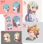 >_< 4girls bangs black_eyes blonde_hair blue_eyes blue_hair blue_skin blush breasts character_request closed_eyes closed_mouth collarbone colored_skin commentary_request copyright_request dated donuttypd expressions eyebrows_visible_through_hair face forehead green_eyes green_shirt hair_ornament half-closed_eyes happy heart heart_hair_ornament hood hoodie light_blush looking_at_viewer multiple_girls multiple_views open_mouth orange_hair pokemon pokemon_(game) pokemon_swsh sad shiny shiny_hair shirt side_ponytail sidelocks simple_background small_breasts smile sonia_(pokemon) sweater tears tied_hair upper_body white_hoodie white_sweater