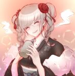 1girl absurdres artist_name bangs black_kimono blush braid breasts c01a_(cola) closed_eyes collarbone commentary cup danganronpa_(series) danganronpa_2:_goodbye_despair english_commentary eyebrows_visible_through_hair facing_viewer flower glasses hair_flower hair_ornament hands_up highres holding holding_cup japanese_clothes kimono long_sleeves medium_breasts medium_hair obi open_mouth pekoyama_peko red_flower sash shiny shiny_hair smile solo sparkle twin_braids upper_body upper_teeth wide_sleeves