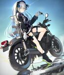 1girl assault_rifle blue_hair blue_sky clothes_writing commentary condensation_trail day facial_tattoo fuu_fuu girls_frontline gloves green_eyes ground_vehicle gun h&k_hk416 hairband highres hk416_(girls_frontline) iron_cross key keychain long_hair long_sleeves looking_at_viewer mod3_(girls_frontline) motor_vehicle motorcycle outdoors pouch rifle sitting sky solo tattoo thigh_strap weapon white_gloves