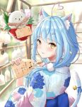 1girl ahoge animal_ears bangs bell blue_flower blue_hair blue_nails blue_ribbon blurry blurry_background blush calligraphy_brush card carnation cat_ears cat_tail commentary_request daifuku_(yukihana_lamy) eyebrows_visible_through_hair floral_print flower hair_ornament hairpin heart_ahoge highres holding holding_card holding_paintbrush hololive japanese_clothes jingle_bell kimono long_hair long_sleeves looking_at_viewer looking_back low_twintails nail_polish obi paintbrush parted_lips pink_flower pointy_ears ribbon riroi sash scrunchie solo tail translation_request twintails upper_body virtual_youtuber white_flower wide_sleeves yellow_eyes yukihana_lamy