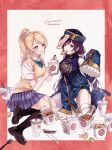 2girls ayase_eli bandaged_leg bandages bangs bare_shoulders blonde_hair blue_dress blue_skirt china_dress chinese_clothes chopsticks collared_shirt detached_sleeves dress eating eye_contact food food_on_face full_body hat highres jiangshi lipstick long_hair long_sleeves looking_at_another love_live! love_live!_school_idol_project makeup miniskirt multiple_girls ofuda otonokizaka_school_uniform plaid plaid_skirt pleated_skirt purple_hair qing_guanmao school_uniform shirt short_dress signature sitting skirt sleeveless sleeveless_dress sleeves_past_fingers sleeves_past_wrists summer_uniform sweater_vest swept_bangs toujou_nozomi white_shirt zawawa_(satoukibi1108)