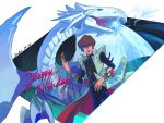 1boy artist_name bangs belt blue-eyes_white_dragon brown_hair card coat commentary_request dated duel_disk duel_monster energy hair_between_eyes hand_up highres holding holding_card jewelry kaiba_seto looking_down male_focus necklace open_clothes open_coat open_mouth pants short_hair sini_sann yu-gi-oh!