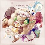 ampharos book candy_wrapper coco7 commentary cushion gen_2_pokemon gen_4_pokemon gen_5_pokemon lamp no_humans number pachirisu pokemon pokemon_(creature) star_(symbol) whimsicott