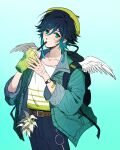 1boy absurdres androgynous bag bandaged_arm bandages bangs belt black_hair blue_hair blush braid collarbone cup denim drinking drinking_straw drinking_straw_in_mouth eyebrows_visible_through_hair feathered_wings feathers flower genshin_impact gradient_hair green_background green_eyes green_headwear hair_between_eyes hat highres holding holding_cup jacket jeans long_sleeves looking_at_viewer male_focus multicolored_hair pants shohje simple_background sleeves_rolled_up solo twin_braids venti_(genshin_impact) watch watch white_flower wings