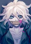 1boy bangs blood blood_on_face bloody_clothes collarbone commentary danganronpa_(series) danganronpa_2:_goodbye_despair gag green_jacket grey_shirt hair_between_eyes highres improvised_gag jacket komaeda_nagito looking_at_viewer male_focus messy_hair open_clothes open_jacket pink_blood portrait shirt solo spoilers tape tape_gag tei_(auntaso) upper_body white_hair
