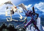 city creature eva_01 fighting flying gainax kaijuu lance mecha monster mountain neon_genesis_evangelion no_humans official_art polearm scan sky smoke standing tatsunoko_pro tree weapon yoshinari_you