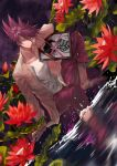 1boy absurdres bangs blood blood_from_mouth closed_mouth collarbone collared_shirt commentary_request cross danganronpa_(series) danganronpa_v3:_killing_harmony dutch_angle facial_hair flower hair_between_eyes highres iei jacket knee_up long_sleeves looking_at_viewer male_focus momota_kaito night night_sky open_clothes open_shirt outdoors pants pink_blood pink_pants print_shirt purple_hair qianhai red_flower shirt short_hair sitting sky smile spiky_hair spoilers wading water
