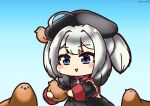 1girl ahoge animal animal_on_head artist_name azur_lane bird bird_on_head black_dress blue_background blue_eyes chibi chicken dress holding holding_animal holding_bird medium_hair on_head senhayama_(racoon) silver_hair simple_background solo z28_(azur_lane)