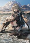 1girl an-94 an-94_(girls_frontline) assault_rifle bag bangs blonde_hair blue_eyes blurry blurry_background closed_mouth clouds cloudy_sky girls_frontline gloves gun hairband leg_hug long_hair looking_at_viewer low_tied_hair outdoors platinum_blonde_hair rifle silence_girl sitting sky smile solo tactical_clothes water weapon