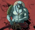 abs bald collarbone commentary commission english_commentary fangs highres holding jewelry katana looking_at_viewer male_focus manly multiple_views necklace no_pupils orc original pearl_necklace popopoka red_background sheath sheathed shoulder_plates single_bare_shoulder sword thick_eyebrows weapon
