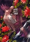1boy ? absurdres bangs blood blood_from_mouth closed_mouth collarbone collared_shirt commentary_request danganronpa_(series) danganronpa_v3:_killing_harmony dutch_angle facial_hair flower hair_between_eyes highres iei jacket knee_up long_sleeves looking_at_viewer male_focus momota_kaito night night_sky open_clothes open_shirt outdoors pants pink_blood pink_pants print_shirt purple_hair qianhai red_flower shirt short_hair sitting sky smile spiky_hair spoilers wading water