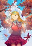 1girl ;) absurdres ahoge akamatsu_kaede arm_up autumn autumn_leaves backpack bag bangs blonde_hair breasts closed_mouth clouds collared_shirt danganronpa_(series) danganronpa_v3:_killing_harmony day falling_leaves from_below hair_ornament highres holding_strap large_breasts leaf light_smile long_hair long_sleeves musical_note musical_note_hair_ornament necktie one_eye_closed outdoors pink_vest pleated_skirt qianhai randoseru school_uniform shirt skirt smile solo sweater_vest vest violet_eyes