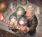 2boys 2girls blonde_hair blue_eyes blue_hair brother_and_sister byleth_(fire_emblem) byleth_(fire_emblem)_(female) en_mouth father_and_daughter father_and_son fire_emblem fire_emblem:_three_houses green_hair highres japanese_clothes jeralt_reus_eisner kimono korokoro_daigorou looking_at_viewer mother_and_daughter mother_and_son multiple_boys multiple_girls siblings smile ss twins