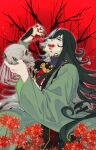 1boy :q ashiya_douman_(fate) asymmetrical_clothes asymmetrical_hair bell black_eyes black_hair bleeding blood blood_on_face curly_hair earrings fate/grand_order fate_(series) fingernails flower flower_request green_eyeshadow green_kimono green_lipstick green_nails hair_bell hair_between_eyes hair_intakes hair_ornament head_tilt japanese_clothes jewelry kimono licking_lips lipstick long_hair magatama magatama_earrings makeup male_focus multicolored_hair open_clothes open_kimono red_flower ribbed_sleeves sharp_fingernails skull solo tongue tongue_out tree_branch two-tone_hair upper_body very_long_fingernails very_long_hair white_hair wutoubanfan_(aruko_023)