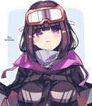1girl :< bangs black_hair black_jacket blue_background blush breasts closed_mouth eyebrows_visible_through_hair fate/grand_order fate_(series) goggles goggles_on_head high_collar highres jacket long_hair medium_breasts osakabe-hime_(fate/grand_order) outline signature ski_goggles sofra solo twitter_username two-tone_background upper_body violet_eyes white_background white_outline