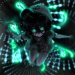 1girl anchor anchor_print aqua_eyes arms_at_sides black_hair blurry blurry_background commentary constricted_pupils crazy_eyes crazy_smile danmaku dark flat_cap glowing glowing_eyes hat highres hishaku holding ladle messy_hair murasa_minamitsu outstretched_arms red_neckwear sailor sailor_collar sailor_hat short_hair solo spell_card sunyup touhou white_headwear wide-eyed