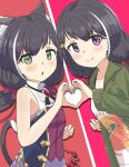 2girls absurdres animal_ear_fluff animal_ears bangs bare_arms black_hair blush bow cat_ears cat_girl cat_hair_ornament cat_tail chestnut_mouth closed_mouth coat commentary eyebrows_visible_through_hair green_coat green_eyes hair_bow hair_ornament heart heart_hands heart_hands_duo highres karyl_(princess_connect!) karyl_(real)_(princess_connect!) long_hair long_sleeves looking_at_viewer melerdon multicolored_hair multiple_girls open_mouth princess_connect! princess_connect!_re:dive purple_skirt shirt skirt sleeveless sleeveless_shirt smile streaked_hair tail violet_eyes white_hair white_shirt