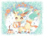 bow brown_eyes commentary_request cup flower frills gen_4_pokemon jippe leaf leafeon light_blush looking_down mouth_hold no_humans orange_bow orange_flower paws pokemon pokemon_(creature) pouring saucer solo standing teacup teapot toes