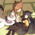 2girls animal_ear_fluff animal_ears black_hair brown_hair fox_ears fox_girl fox_tail girls_frontline highres kyuubi long_hair multiple_girls multiple_tails official_alternate_costume shitoshine super_sass_(girls_frontline) tail type_79_(girls_frontline) very_long_hair wolf_ears wolf_girl wolf_tail