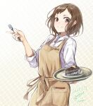 1girl apron bang_dream! blush brown_apron brown_background brown_eyes brown_hair closed_mouth collared_shirt commentary_request dated food fork gurifu hand_up hazawa_tsugumi highres holding holding_fork holding_tray long_sleeves looking_at_viewer shirt signature smile solo tray twitter_username white_shirt