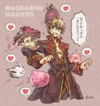 1boy :3 absurdres anger_vein bangs bare_pecs beige_background black_coat black_pants blonde_hair blue_eyes character_request coat commentary_request cowboy_shot emoticon extra_mouth heart highres ichimi_(simtysiger) jumping long_sleeves looking_at_another looking_back lunatic_(ragnarok_online) male_focus mushroom open_mouth pants pig poring priest_(ragnarok_online) rabbit ragnarok_masters ragnarok_online red_coat savage_babe short_hair signature simple_background slime_(creature) speech_bubble spoken_heart spore_(ragnarok_online) teeth tongue translation_request two-tone_coat upper_teeth
