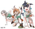 3girls action alternate_costume animal_ears beige_shirt beige_shorts black_footwear black_hair blonde_hair blowhole blue_eyes blue_hair blush chalk collared_shirt commentary_request common_dolphin_(kemono_friends) dhole_(kemono_friends) dog_ears dog_girl dog_tail dolphin_tail extra_ears eyebrows_visible_through_hair glasses gloves green_eyes green_footwear green_shirt grey_hair highres kemono_friends kemono_friends_3 khakis kneeling light_brown_hair matching_outfit meerkat_(kemono_friends) meerkat_ears meerkat_tail multicolored_hair multiple_girls neck_ribbon neckwear pov ribbon shirt shoes short_hair short_sleeves shorts sneakers socks tail takebi two-tone_footwear two-tone_hair two-tone_shirt uniform whistle white_background white_gloves white_hair white_legwear