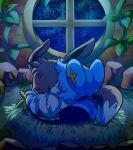 artist_name closed_eyes commentary eevee english_commentary from_behind full_body fushigi_no_dungeon gen_1_pokemon gen_4_pokemon indoors night night_sky no_humans plant pokemon pokemon_(creature) pokemon_(game) pokemon_mystery_dungeon shinx sky sleeping star_(sky) starry_sky teeterglance twitter_username vines watermark window
