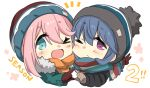 >_o 2girls ;d bangs beanie black_headwear black_jacket blue_eyes blue_hair blush brown_gloves brown_scarf chibi commentary_request eyebrows_visible_through_hair fur-trimmed_jacket fur_trim gloves green_jacket hair_between_eyes hat heart heart_hands heart_hands_duo highres hizuki_yayoi jacket kagamihara_nadeshiko long_hair long_sleeves looking_at_viewer multiple_girls notice_lines one_eye_closed open_mouth pink_hair red_gloves scarf shima_rin simple_background smile upper_body violet_eyes white_background yurucamp