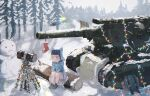 1girl ankodesoy ash_arms b-4_(ash_arms) belt blonde_hair blue_eyes christmas_tree forest gloves ground_vehicle hammer highres log military military_vehicle motor_vehicle nature pine_tree short_hair sitting snowing snowman solo tank tree turret winter_clothes