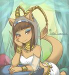 1girl 2014 aisha_(neopets) animal_ears bangs blunt_bangs bracelet breasts brown_eyes brown_hair closed_mouth commentary earrings english_commentary eyeshadow highres iimia jewelry long_hair looking_at_viewer makeup neopets pillow princess_amira shadow signature small_breasts smile tail