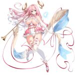 1girl bangs blue_eyes breasts dennou_tenshi_jibril elbow_gloves floating_hair full_body garter_straps gloves holding holding_instrument huge_breasts instrument long_hair looking_at_viewer official_art pink_hair red_ribbon ribbon smile solo thigh-highs transparent_background trumpet under_boob white_gloves white_legwear