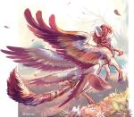 braid brown_hair commentary creature day english_commentary faerie_neopet feathers flower flying full_body grass kougra long_hair looking_at_viewer looking_back multiple_wings neopets no_humans outdoors signature tiger wings yhemo