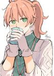 1boy absurdres bangs blush brown_hair closed_mouth cup eyebrows_visible_through_hair fate/grand_order fate_(series) gloves green_eyes green_shirt hair_between_eyes highres holding holding_cup labcoat long_hair long_sleeves looking_at_viewer male_focus open_clothes ponytail romani_archaman shirt signature simple_background smile sofra solo steam upper_body white_background white_gloves yunomi
