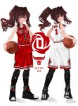 1girl ball bangs bare_arms bare_shoulders basketball basketball_uniform blue_eyes blush breasts brown_hair closed_mouth collarbone elisia_valfelto english_commentary full_body hair_between_eyes highres holding holding_ball jersey luicent multiple_views national_basketball_association original ponytail shin_guards shoes sidelocks sleeveless small_breasts smile sneakers sportswear standing tank_top