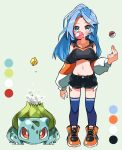 1girl black_shorts blue_eyes blue_hair blue_legwear blush borrowed_character breasts bubble_blowing bulbasaur chewing_gum clothing_cutout collarbone color_guide commission crop_top crossover cutoffs exposed_pocket full_body gen_1_pokemon highres hyou_(hyouga617) long_hair medium_breasts midriff minah_(chaesu) multicolored_sleeves navel original poke_ball poke_ball_(basic) pokemon pokemon_(creature) pokemon_(game) pokemon_rgby shoes shorts shoulder_cutout skeb_commission sneakers striped_sleeves thigh-highs