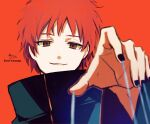 1boy absurdres black_jacket black_nails brown_eyes hand_up high_collar highres jacket long_sleeves looking_at_viewer male_focus nail_polish naruto_(series) naruto_shippuuden orange_background parted_lips redhead sasori signature smile sofra solo string twitter_username upper_body wide_sleeves