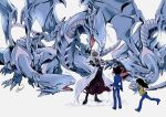 3boys arm_belt black_hair blue-eyes_white_dragon blue_eyes brown_hair closed_eyes coat crossed_arms domino_high_school_uniform dragon duel_monster from_behind happy heart jurassic_world kaiba_mokuba kaiba_seto moneko multiple_boys mutou_yuugi open_mouth prattkeeping running school_uniform simple_background standing white_coat yu-gi-oh! yu-gi-oh!_duel_monsters