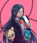 bangs blue_eyes blunt_bangs character_print collared_shirt danganronpa_(series) danganronpa_v3:_killing_harmony glasses highres holding holding_mask jacket long_hair long_sleeves mask mask_removed monokuma neck_ribbon open_clothes open_jacket parted_bangs pink_background pink_eyes purple_jacket qianhai red_ribbon ribbon shirogane_tsumugi shirt skirt smile squinting very_long_hair