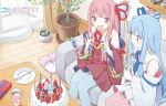 2girls birthday_cake blue_dress blue_legwear blue_ribbon cake candle chain character_name choudoniku collar collared_dress commentary couch cup curtains dated dress food fork fruit hair_ribbon happy_birthday highres holding holding_chain indoors kotonoha_akane kotonoha_aoi light_blue_hair long_hair miniature multiple_girls open_mouth paper_chain pink_eyes pink_hair pink_legwear plant plate potted_plant red_dress red_ribbon ribbon sailor_collar shelf siblings sidelocks sisters sitting slippers smile strawberry thigh-highs toy very_long_hair voiceroid white_collar window wooden_floor